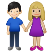 Woman and Man Holding Hands: Medium-Light Skin Tone, Light Skin Tone on Samsung One UI 2.5