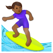 Woman Surfing: Medium-Dark Skin Tone on Samsung One UI 2.5