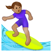 Woman Surfing: Medium Skin Tone on Samsung One UI 2.5