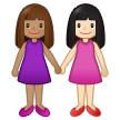 Women Holding Hands: Medium Skin Tone, Light Skin Tone on Samsung One UI 2.5