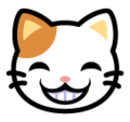 Grinning Cat Face With Smiling Eyes on SoftBank 2014