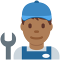 Man Mechanic: Medium-Dark Skin Tone on Twitter Twemoji 11.1