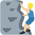 Man Climbing: Medium-Light Skin Tone on Twitter Twemoji 11.1