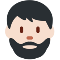 Man: Light Skin Tone, Beard on Twitter Twemoji 11.2