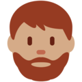 Man: Medium Skin Tone, Beard on Twitter Twemoji 11.2