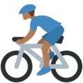 Person Biking: Medium-Dark Skin Tone on Twitter Twemoji 11.2