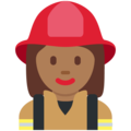 Woman Firefighter: Medium-Dark Skin Tone on Twitter Twemoji 11.2