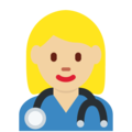 Woman Health Worker: Medium-Light Skin Tone on Twitter Twemoji 11.2