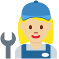 Woman Mechanic: Medium-Light Skin Tone on Twitter Twemoji 11.2