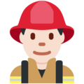Man Firefighter: Light Skin Tone on Twitter Twemoji 11.2