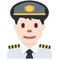 Man Pilot: Light Skin Tone on Twitter Twemoji 11.2