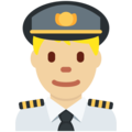 Man Pilot: Medium-Light Skin Tone on Twitter Twemoji 11.2