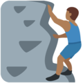 Man Climbing: Medium-Dark Skin Tone on Twitter Twemoji 11.2