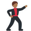Man Dancing: Medium-Dark Skin Tone on Twitter Twemoji 11.2