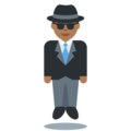 Man in Suit Levitating: Medium-Dark Skin Tone on Twitter Twemoji 11.2