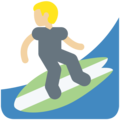 Man Surfing: Medium-Light Skin Tone on Twitter Twemoji 11.2