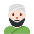 Man Wearing Turban: Light Skin Tone on Twitter Twemoji 11.2