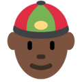 Man With Chinese Cap: Dark Skin Tone on Twitter Twemoji 11.2
