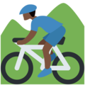 Person Mountain Biking: Dark Skin Tone on Twitter Twemoji 11.2