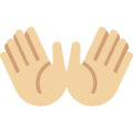 Open Hands: Medium-Light Skin Tone on Twitter Twemoji 11.2