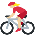 Woman Biking: Medium-Light Skin Tone on Twitter Twemoji 11.2