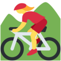 Woman Mountain Biking on Twitter Twemoji 11.2