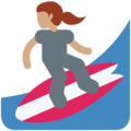 Woman Surfing: Medium Skin Tone on Twitter Twemoji 11.2