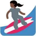 Woman Surfing: Dark Skin Tone on Twitter Twemoji 11.2