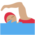Woman Swimming: Medium Skin Tone on Twitter Twemoji 11.2