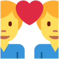 Couple With Heart: Man, Man on Twitter Twemoji 11.3