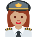 Woman Pilot: Medium Skin Tone on Twitter Twemoji 11.3
