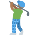 Person Golfing: Medium-Dark Skin Tone on Twitter Twemoji 11.3