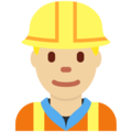 Man Construction Worker: Medium-Light Skin Tone on Twitter Twemoji 11.3