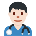 Man Health Worker: Light Skin Tone on Twitter Twemoji 11.3
