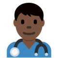 Man Health Worker: Dark Skin Tone on Twitter Twemoji 11.3