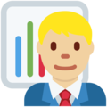 Man Office Worker: Medium-Light Skin Tone on Twitter Twemoji 11.3