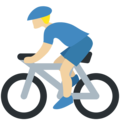 Man Biking: Medium-Light Skin Tone on Twitter Twemoji 11.3