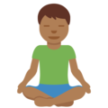Man in Lotus Position: Medium-Dark Skin Tone on Twitter Twemoji 11.3