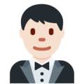 Man in Tuxedo: Light Skin Tone on Twitter Twemoji 11.3