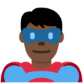 Man Superhero: Dark Skin Tone on Twitter Twemoji 11.3