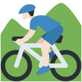 Person Mountain Biking: Light Skin Tone on Twitter Twemoji 11.3