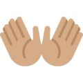 Open Hands: Medium Skin Tone on Twitter Twemoji 11.3