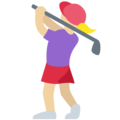 Woman Golfing: Medium-Light Skin Tone on Twitter Twemoji 11.3