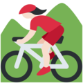 Woman Mountain Biking: Light Skin Tone on Twitter Twemoji 11.3