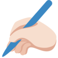 Writing Hand: Light Skin Tone on Twitter Twemoji 11.3