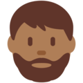 Man: Medium-Dark Skin Tone, Beard on Twitter Twemoji 12.0