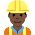 Construction Worker: Dark Skin Tone on Twitter Twemoji 12.0