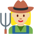 Woman Farmer: Medium-Light Skin Tone on Twitter Twemoji 12.0