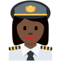 Woman Pilot: Dark Skin Tone on Twitter Twemoji 12.0