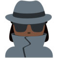 Woman Detective: Dark Skin Tone on Twitter Twemoji 12.0